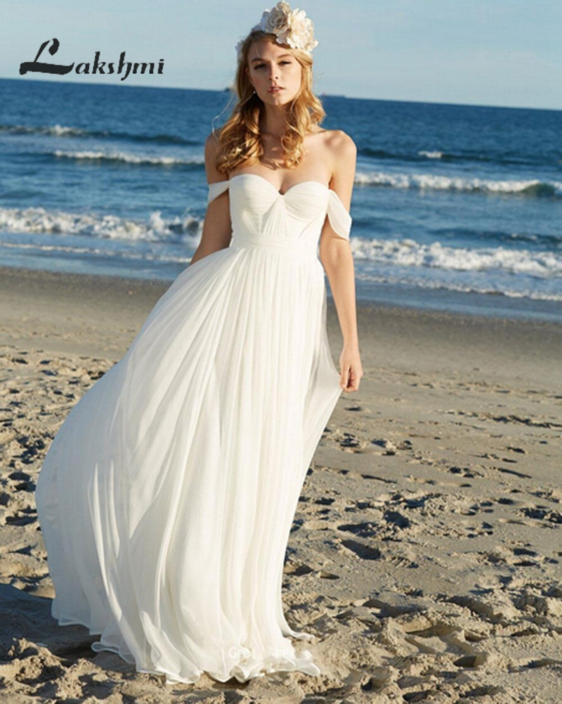 Hot Sale Off Shoulder Chiffon Wedding Dresses Bohemian Bridal Gown ...
