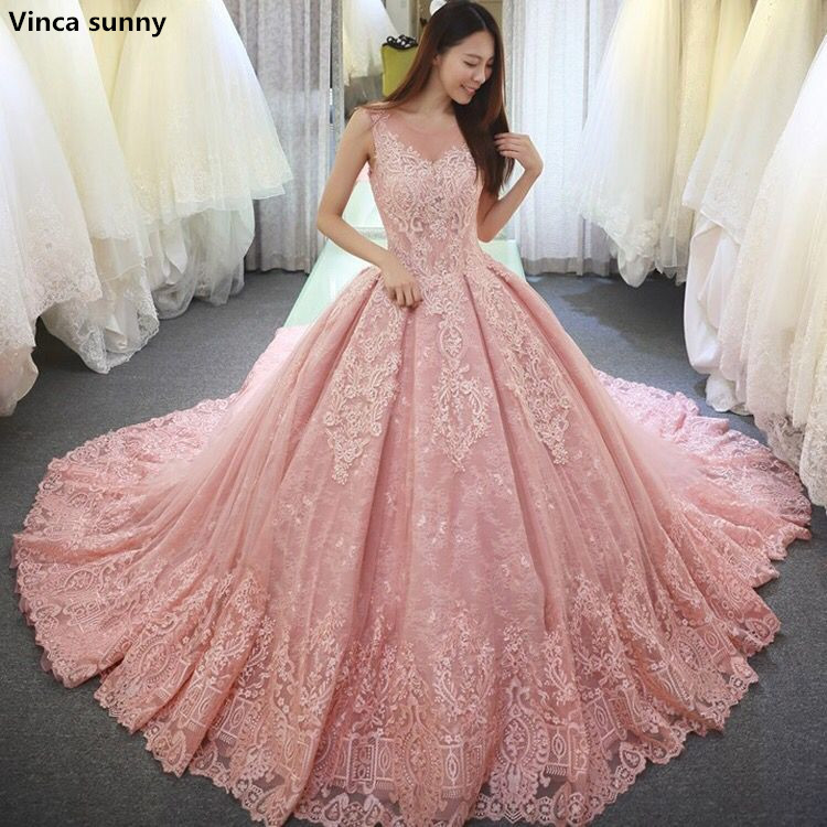Vinca Sunny Pink Ball Gown Wedding Dresses Vestido De