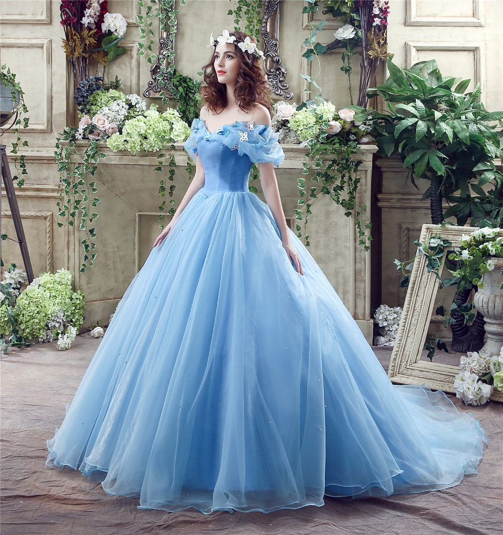 Vintage Sky Blue Ball Gown Wedding Dresses Boho 2018 Off The ...