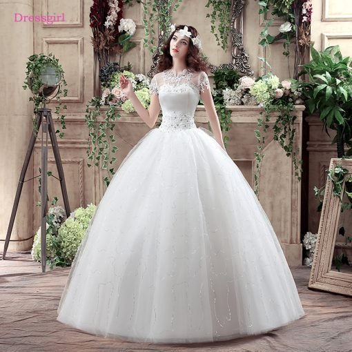 Plus Size Vestido De Noiva 2018 Wedding Dresses Ball Gown Short Sleeves  Lace Crystals Boho Cheap Wedding Gown Bridal Dresses