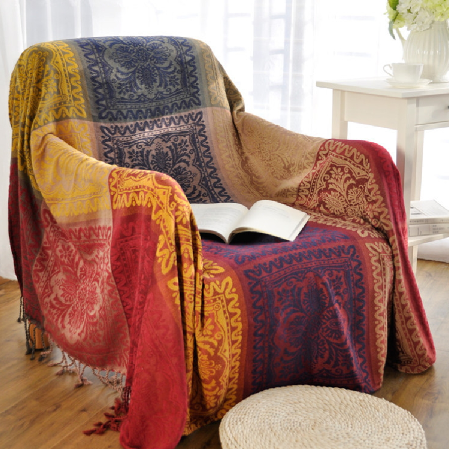 Bohemian Chenille Blanket For Couch Sofa Decorative Slipcover Throws Plaid  Rectangular Boho Stitching Travel/Plane Blanket   Boho Gipsy Store