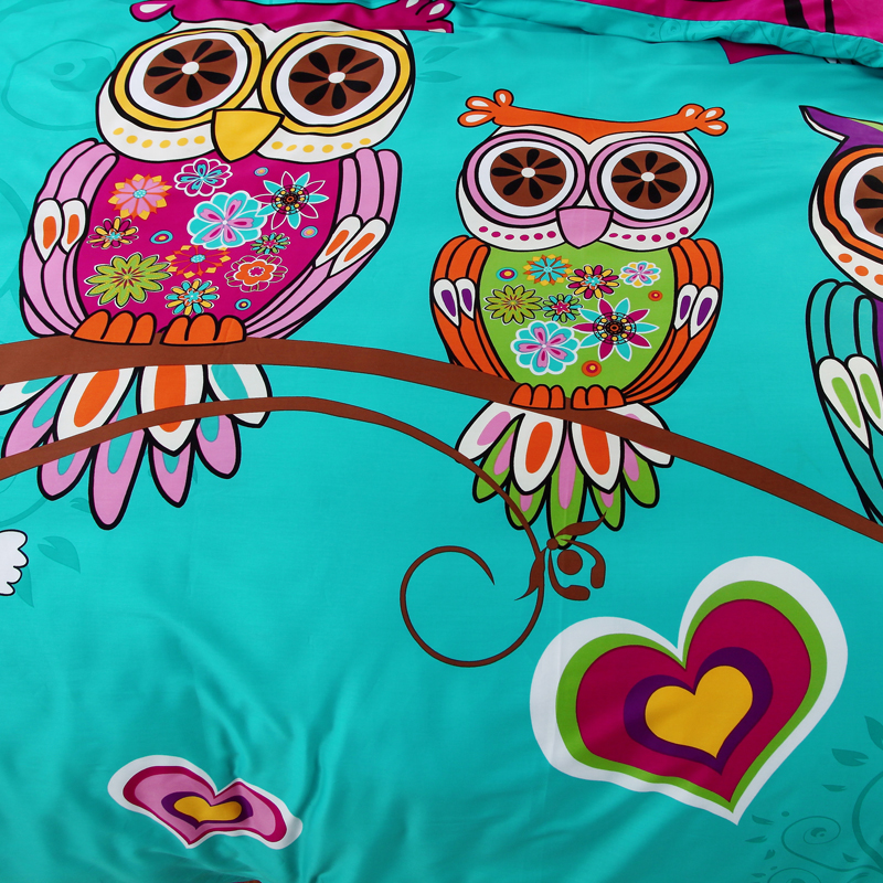 100%Cotton Kids Boys 3d Owl Bedding Set Twin /Queen/King Size Bed Linen/Bed  Sheet Duvet Cover For Christmas 6/4/3 Pcs   Boho Gipsy Store