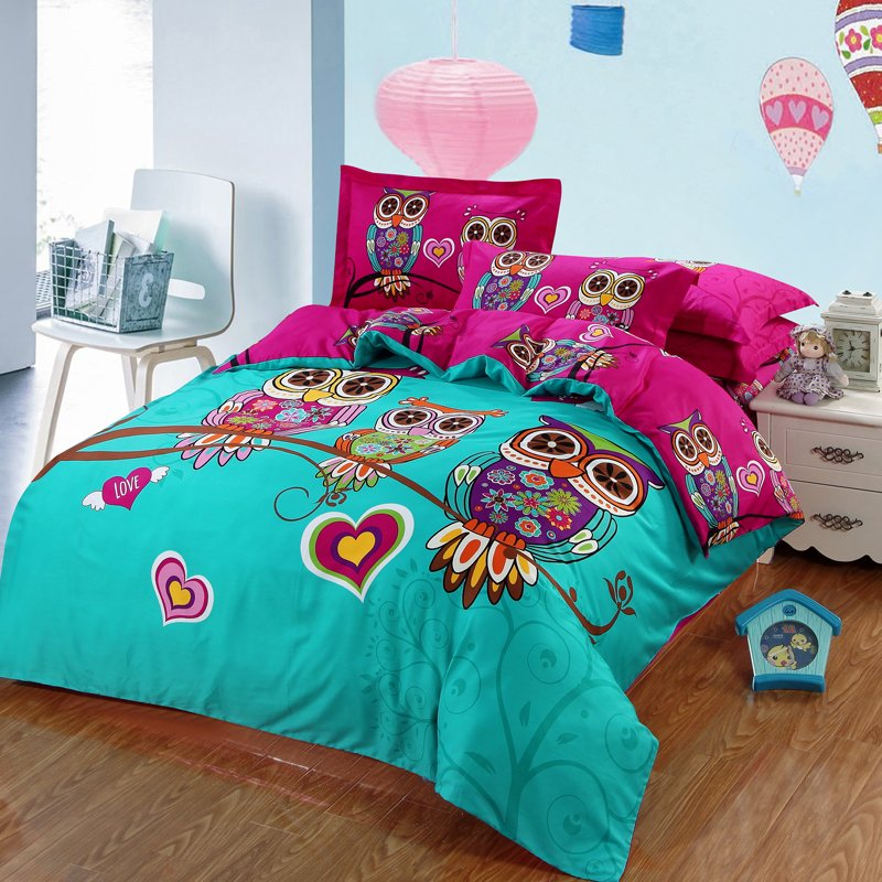Nice 100%Cotton Kids Boys 3d Owl Bedding Set Twin /Queen/King Size Bed Linen/Bed  Sheet Duvet Cover For Christmas 6/4/3 Pcs   Boho Gipsy Store