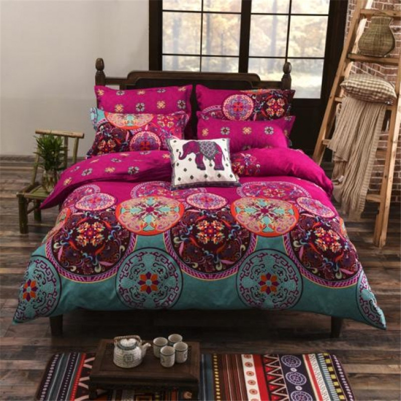 Captivating National Bohemia Recto Prune Reversible Duvet Cover Bed Sheet With  Pillowcase Boho Mandala Bedding Set Twin Full Queen King Size   Boho Gipsy  Store