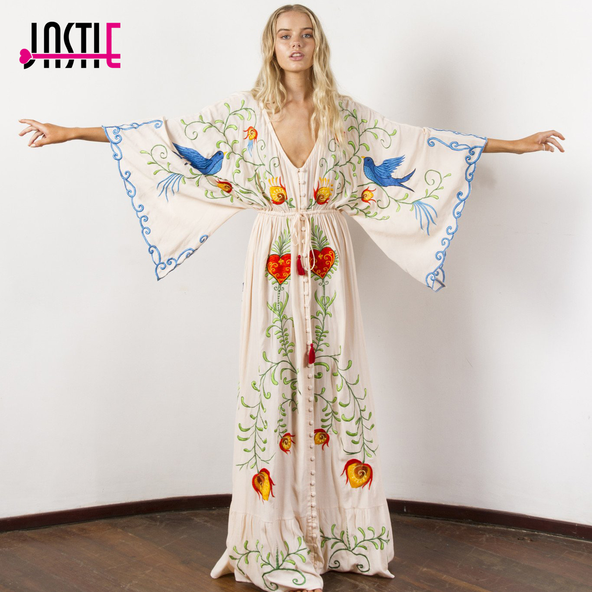 Jastie Embroidered Women Maxi Dress V-Neck Batwing Sleeve Loose Plus Size  Summer Dresses Drawstring Waist Boho Beach Vestidos
