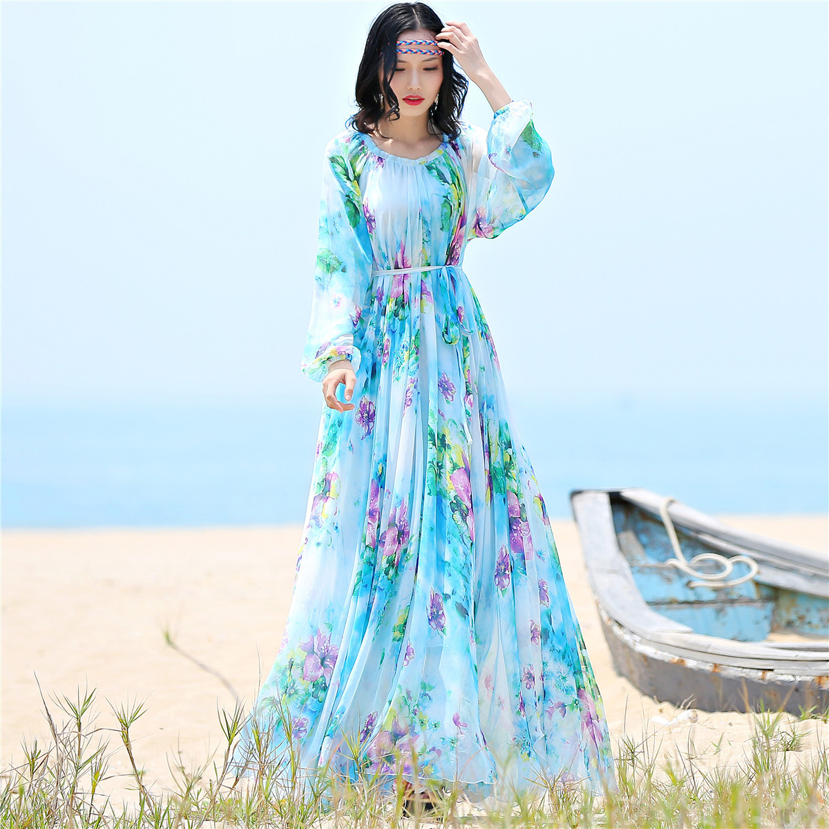 fde498a5892 2017 chiffon Long Sleeve maxi dress bohemia dress full plus size  celebrity graduation Dinner Dress Beach Sundress - Boho Gipsy Store
