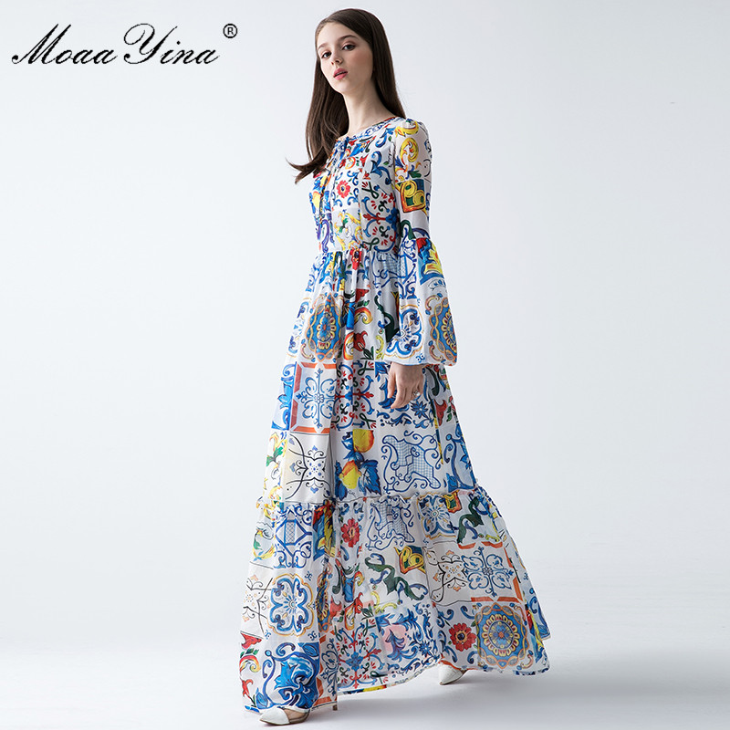e1a519f24160 ... 2018 Fashion Designer Runway Maxi Dress Spring Women Lantern sleeve Floral  Print Bohemia Casual Holiday Long Dress. Sale. Previous