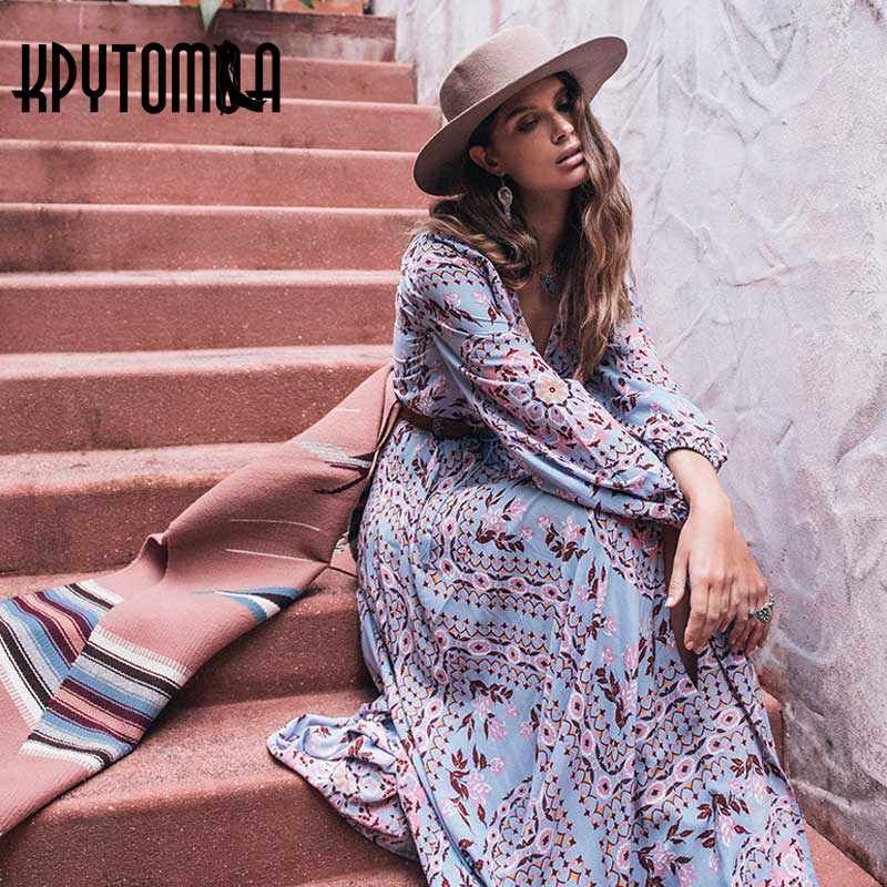 b625841782b3 ... Floral Print Tassel Maxi Dress Women 2018 New Fashion Autumn Long  Sleeve Boho Dresses Casual Femme Vestidos. Sale. Previous