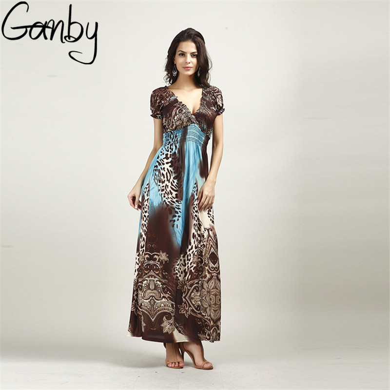 Ganby 2017 Hot Summer Plus Size Vacation Bohemia Dress Leopard Print