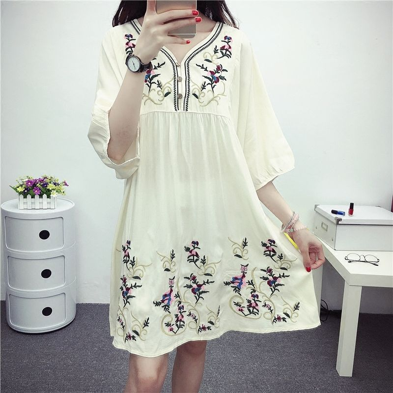 5f9b83c2ea337 Hot Sale Free Shipping Vintage 70s Mexican Ethnic Embroidered Boho Hippie  Loose Causel Women Chic Mini Dress