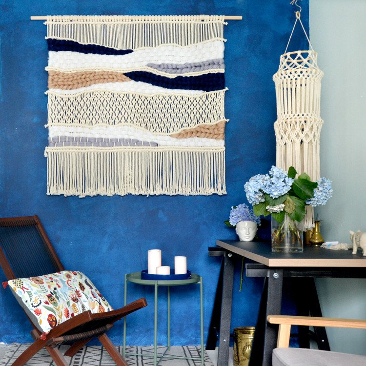 www home interior com 100cm x 100cm macrame wall knitted tapestry wall 22784