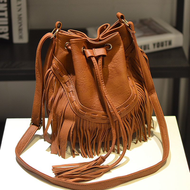 ... Shoulder Bag Fringe Tassel Music Festival Boho Chic Indian Hippie Gypsy  Tribal Bohemian Ibiza Bucket Bag. Sale b0b78a73d7a13