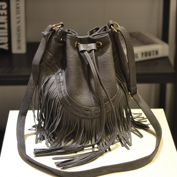 Cecelia Leather Fringe Shoulder Bag Fringe Tassel Music Festival Boho Chic  Indian Hippie Gypsy Tribal Bohemian Ibiza Bucket Bag a6d89d2186ebb