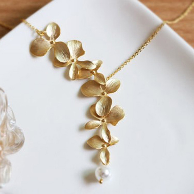 Gold silver orchid flower necklace boho chic necklace wedding gold silver orchid flower necklace boho chic necklace wedding jewelry orchid flower necklace xy160505 boho gipsy store aloadofball Choice Image