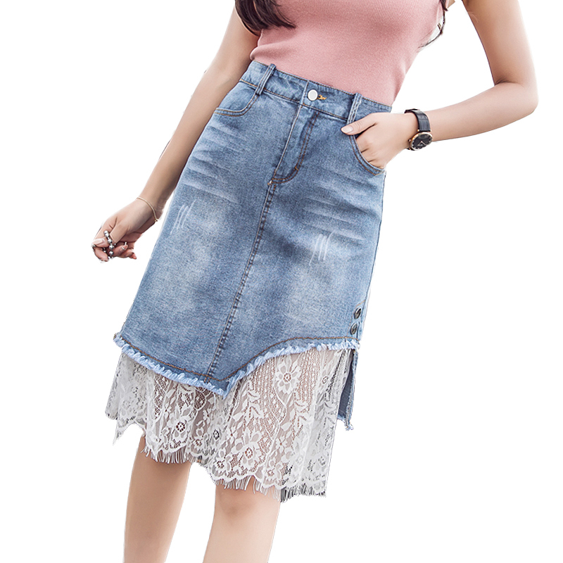 bf51c77221 2018 Fashion Denim Skirts Women Summer Lace Mesh Patchwork Skirts Womens ...