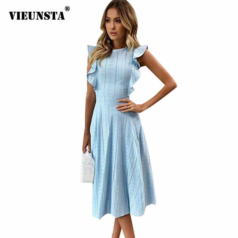 fc0dcfeba1 VIEUNSTA Women Ruffle Elegant Sundress Sexy Lace Boho Beach Party ...